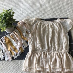 Cream flowy peplum shirt
